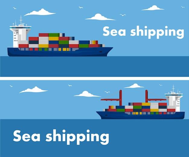 Modelo de banner de transporte marítimo