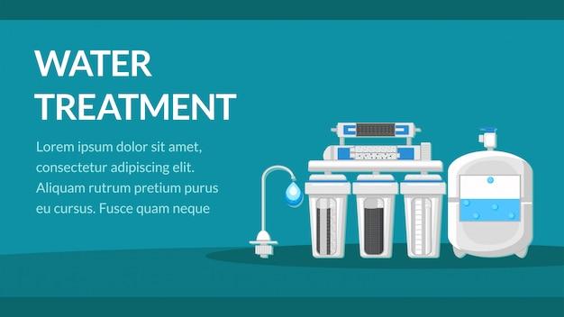 Modelo de banner de tratamento de água com espaço de texto