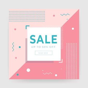 Modelo de banner de venda abstrata geométrica