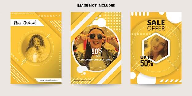 Modelo de banner de venda amarelo dinâmico abstrato