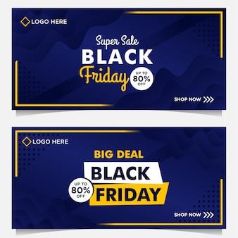 Modelo de banner de venda black friday com estilo gradiente de fundo azul