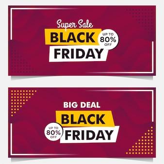 Modelo de banner de venda black friday com estilo gradiente de fundo roxo