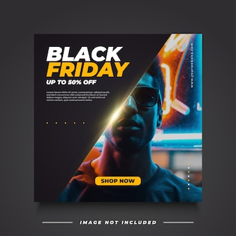 Modelo de banner de venda black friday em estilo elegante