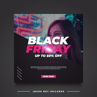 Modelo de banner de venda black friday em estilo moderno