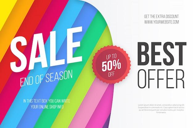 Modelo de banner de venda colorido