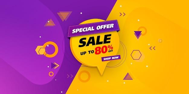 Modelo de banner de venda com desenho geométrico