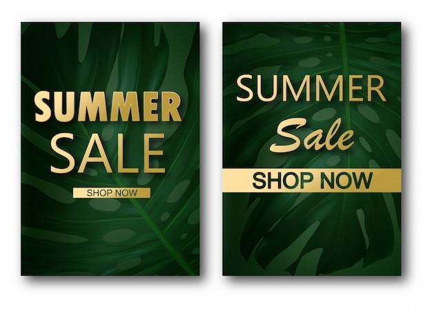 Modelo de banner de venda com folhas, folha de selva e caligrafia