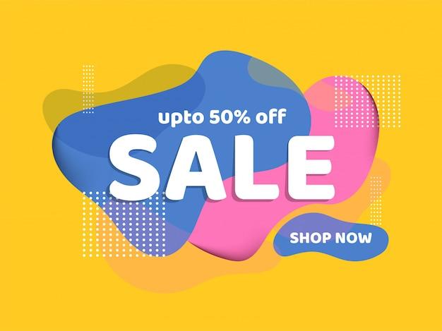 Modelo de banner de venda criativa com oferta de 50% de desconto no design fluido abstrato