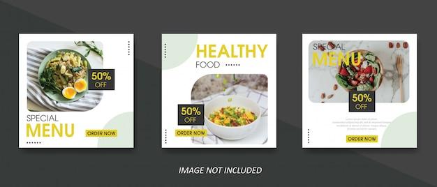 Modelo de banner de venda de comida e culinária para post de mídia social