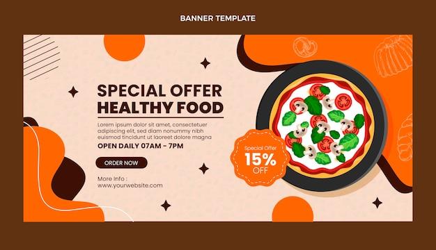 Modelo de banner de venda de comida realista