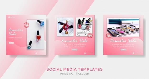 Modelo de banner de venda de cosméticos para post de mídia social.