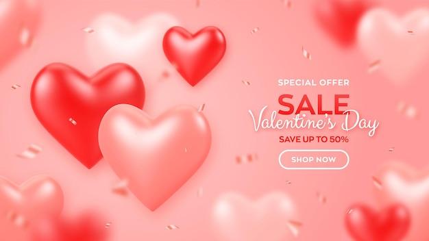 Modelo de banner de venda de dia dos namorados com balões vermelhos e rosa 3d corações e confetes.