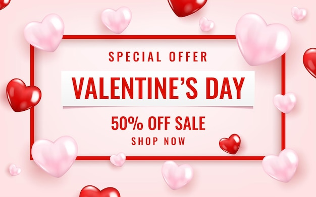 Modelo de banner de venda de dia dos namorados com corações.