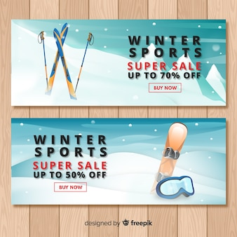 Modelo de banner de venda de esporte de inverno