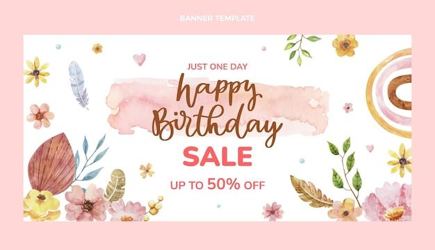 Modelo de banner de venda de feliz aniversário