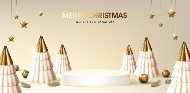 Modelo de banner de venda de feliz natal com pódio de exibição de produto