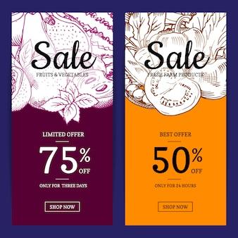 Modelo de banner de venda de frutas e legumes handdrawn vector