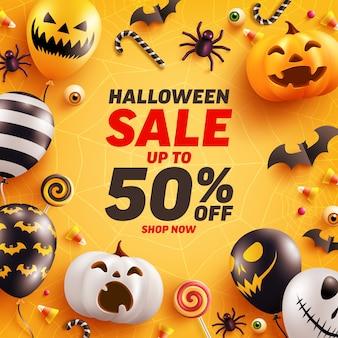 Modelo de banner de venda de halloween com balões de abóbora e fantasma de halloween bonito.