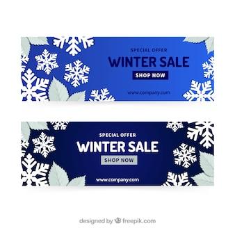 Modelo de banner de venda de inverno de cantos de flocos de neve