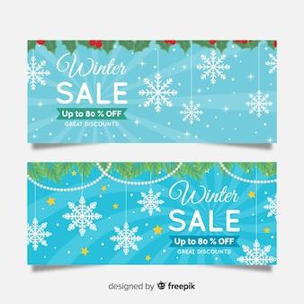Modelo de banner de venda de inverno de guirlanda de planta