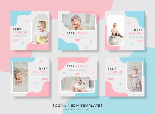 Modelo de banner de venda de loja de bebê com cor azul e rosa.