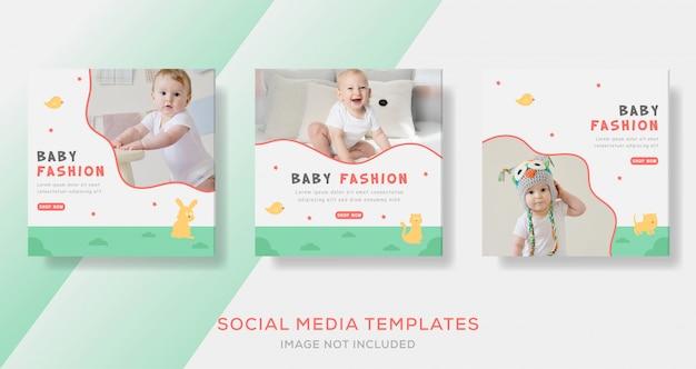 Modelo de banner de venda de moda bebê