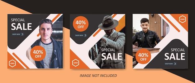 Modelo de banner de venda de moda masculina