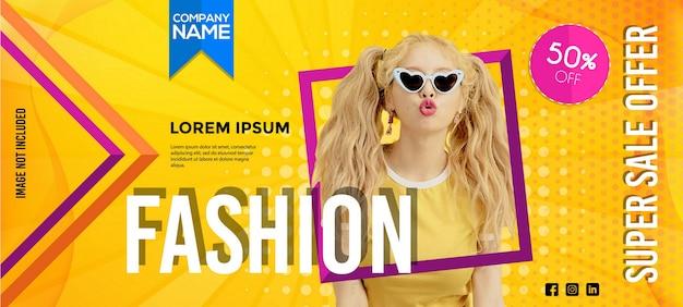Modelo de banner de venda de moda moderna