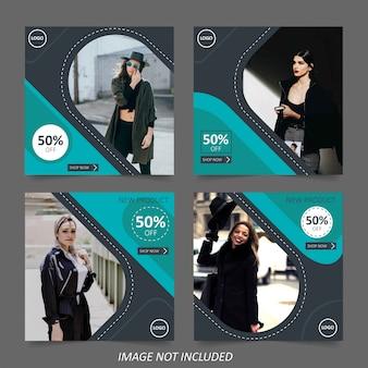 Modelo de banner de venda de moda para mídias sociais