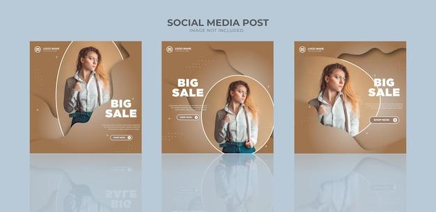 Modelo de banner de venda de moda para promoção de negócios em mídia social