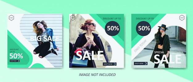 Modelo de banner de venda de moda verde
