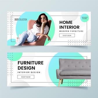 Modelo de banner de venda de móveis gradientes