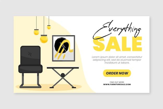 Modelo de banner de venda de móveis planos orgânicos