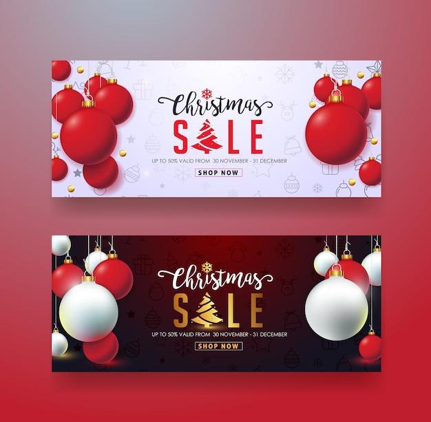 Modelo de banner de venda de natal, cartão-presente, voucher de desconto, cupom