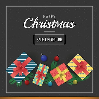 Modelo de banner de venda de natal com caixas de presente