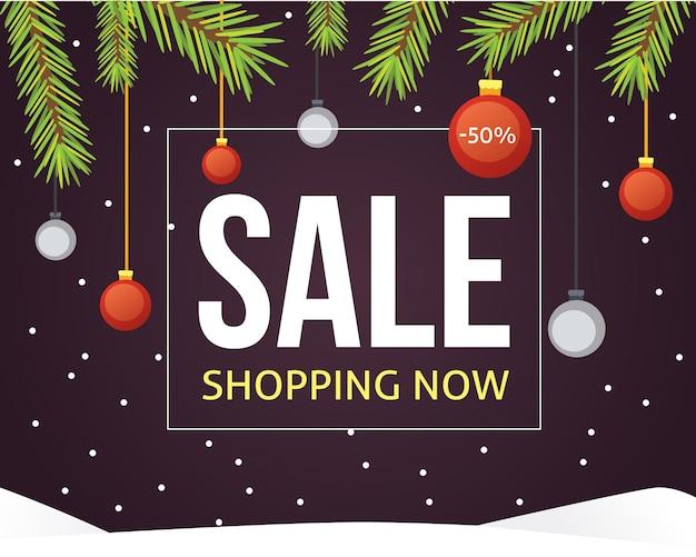 Modelo de banner de venda de natal com fitas e decoração de bolas de purpurina