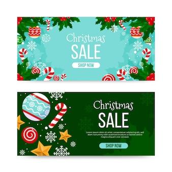 Modelo de banner de venda de natal de design plano