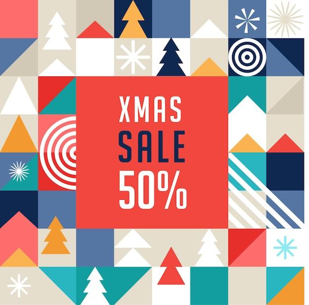 Modelo de banner de venda de natal, estilo geométrico escandinavo Vetor Premium