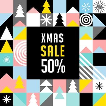 Modelo de banner de venda de natal, estilo geométrico escandinavo