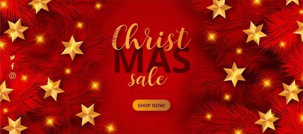 Modelo de banner de venda de natal vermelho