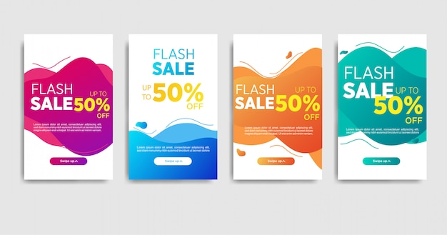 Modelo de banner de venda de ondas de gradiente líquido para mídias sociais