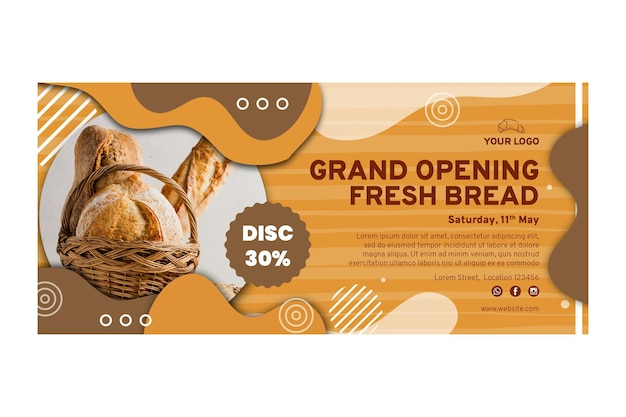 Modelo de banner de venda de pão