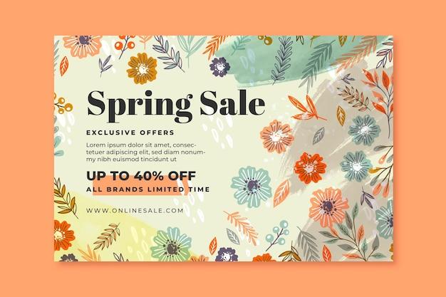 Modelo de banner de venda de primavera desenhado à mão