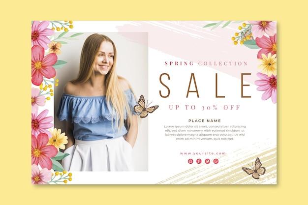 Modelo de banner de venda de primavera em aquarela