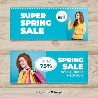 Modelo de banner de venda de primavera fotográfica