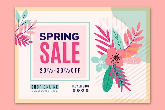Modelo de banner de venda de primavera plana