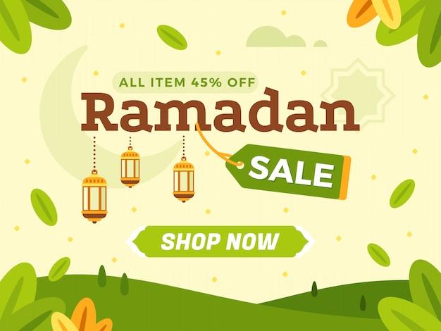 Modelo de banner de venda de ramadã