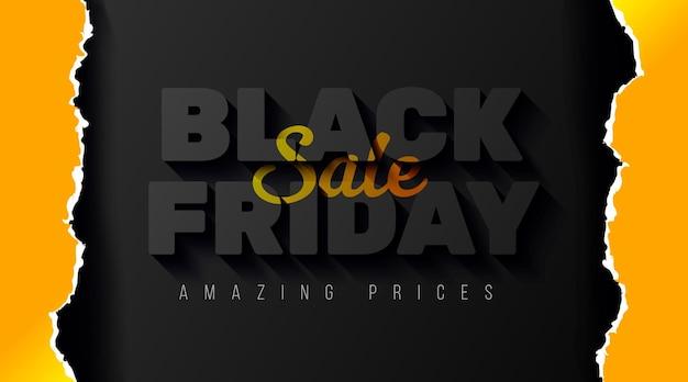 Modelo de banner de venda de sexta-feira negra com papel amarelo realista rasgado