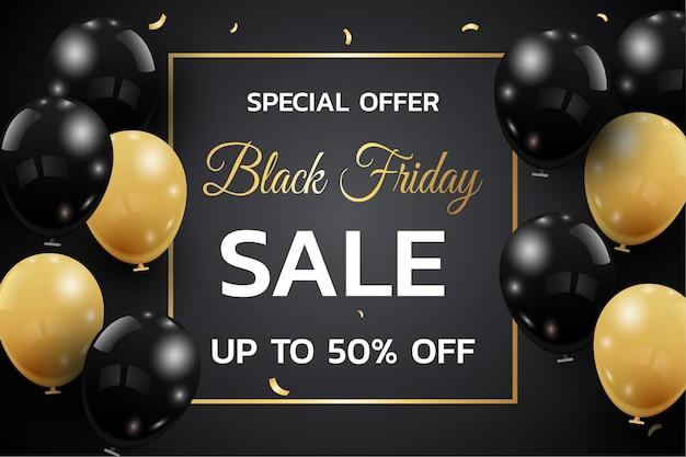 Modelo de banner de venda de sexta-feira negra. fundo escuro com balões dourados e pretos para oferta de desconto sazonal.