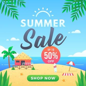 Modelo de banner de venda de verão até 50% de desconto. oferta especial